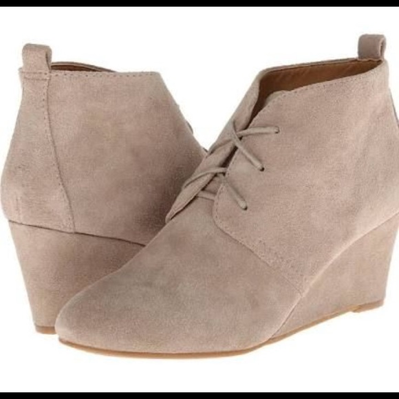 Nine West Wedge Suede Lace Up Booties